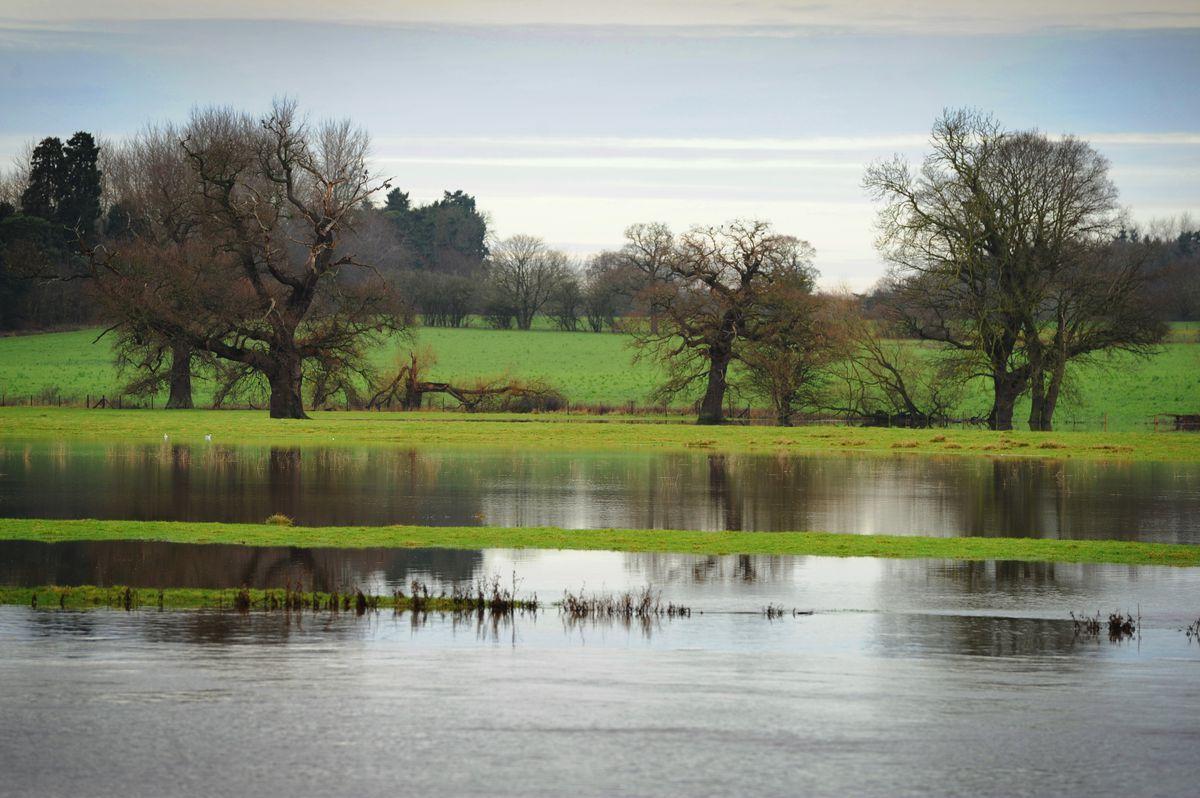 Flooding on farmland near Shrewsbury