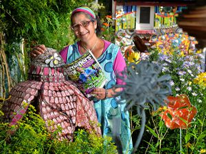 Mosaic artist Caroline Jariwala, from Mango Mosaics. She has now had her mosaic garden featured online on Gardeners World and has had over 120,000 hits and over 20,000 likes