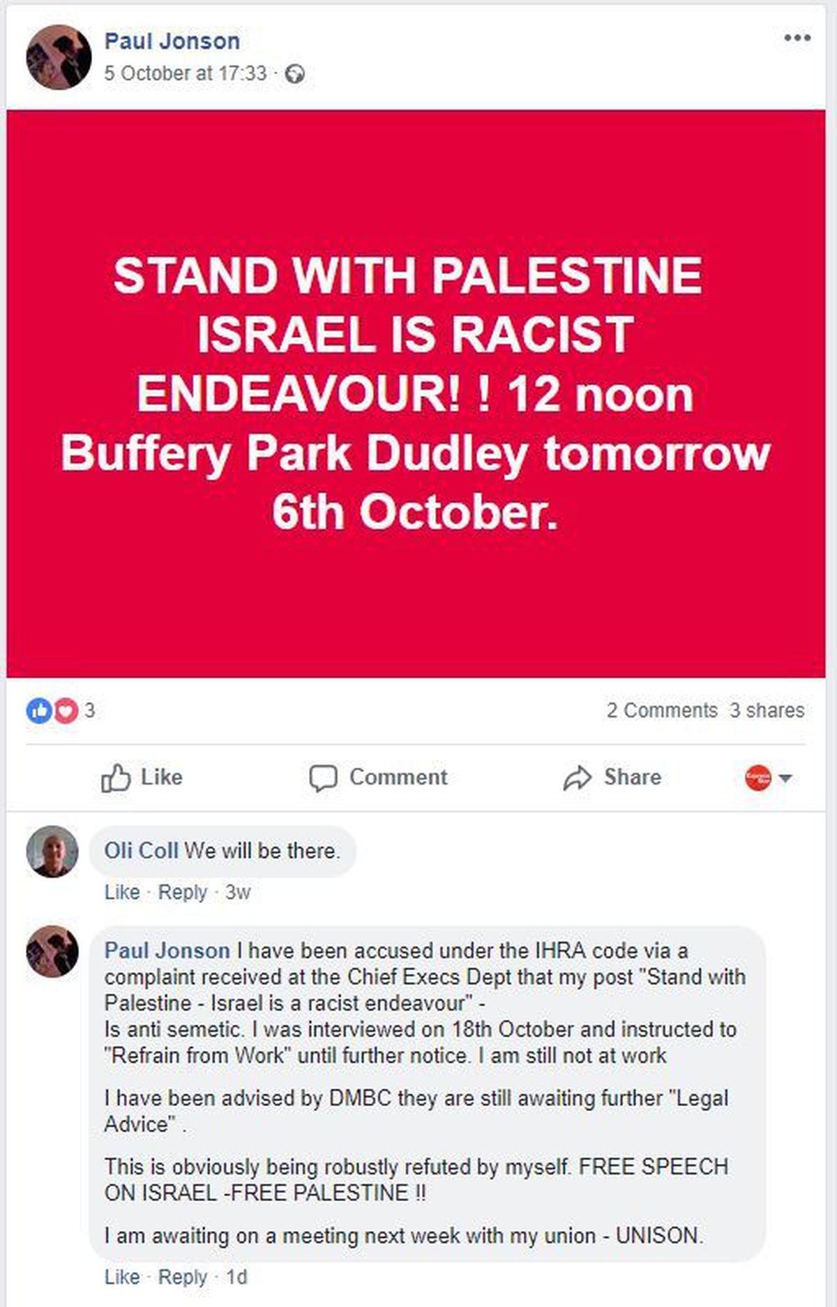Paul Jonson's post on Facebook