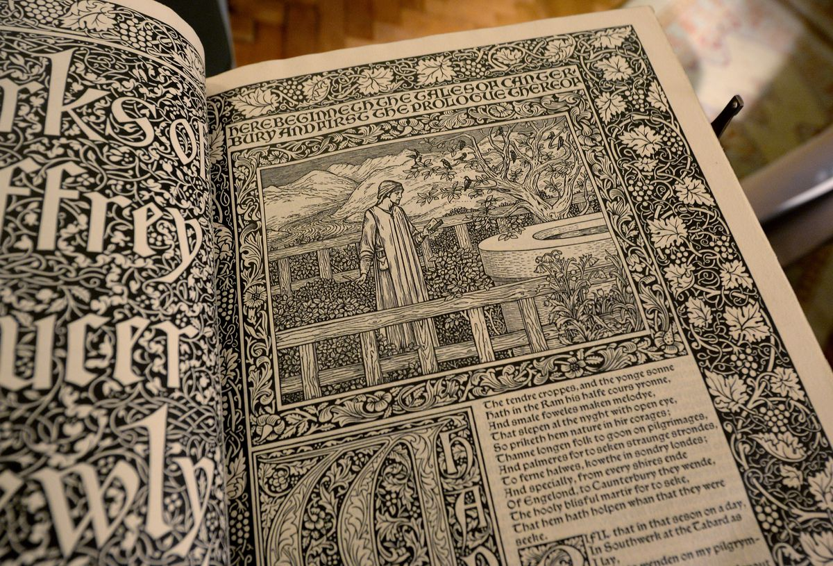 The 125-year old copy of The Works of Geoffrey Chaucer