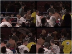 WATCH: Chairs and tables hurled through air as trouble flares at Walsall boxing night