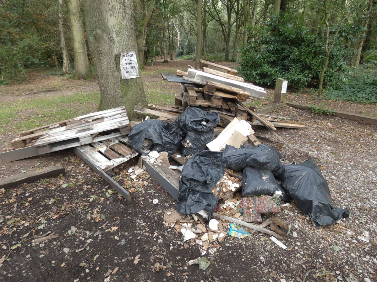 A pile of pallets, wallpaper and plaster was dumped off New Penkridge Road in Cannock.