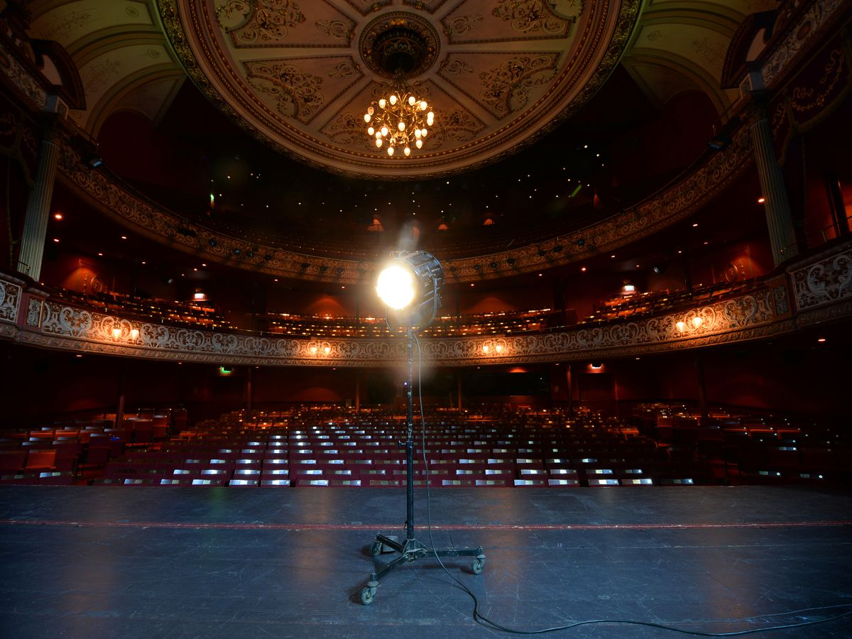 The Grand Theatre have set up a ghost light on stage. It's a theatre tradition where a single stage light is illuminated on stage when the theatre is unoccupied for a long period of time