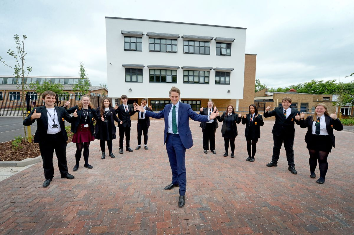 Gavin Williamson officially opens a new building at Netherstowe School, Lichfield..