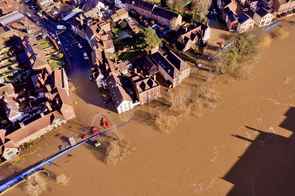 An aerial view showing the River Severn flooding in Bewdley on Saturday. Photo: Dave Throup/Environment Agency