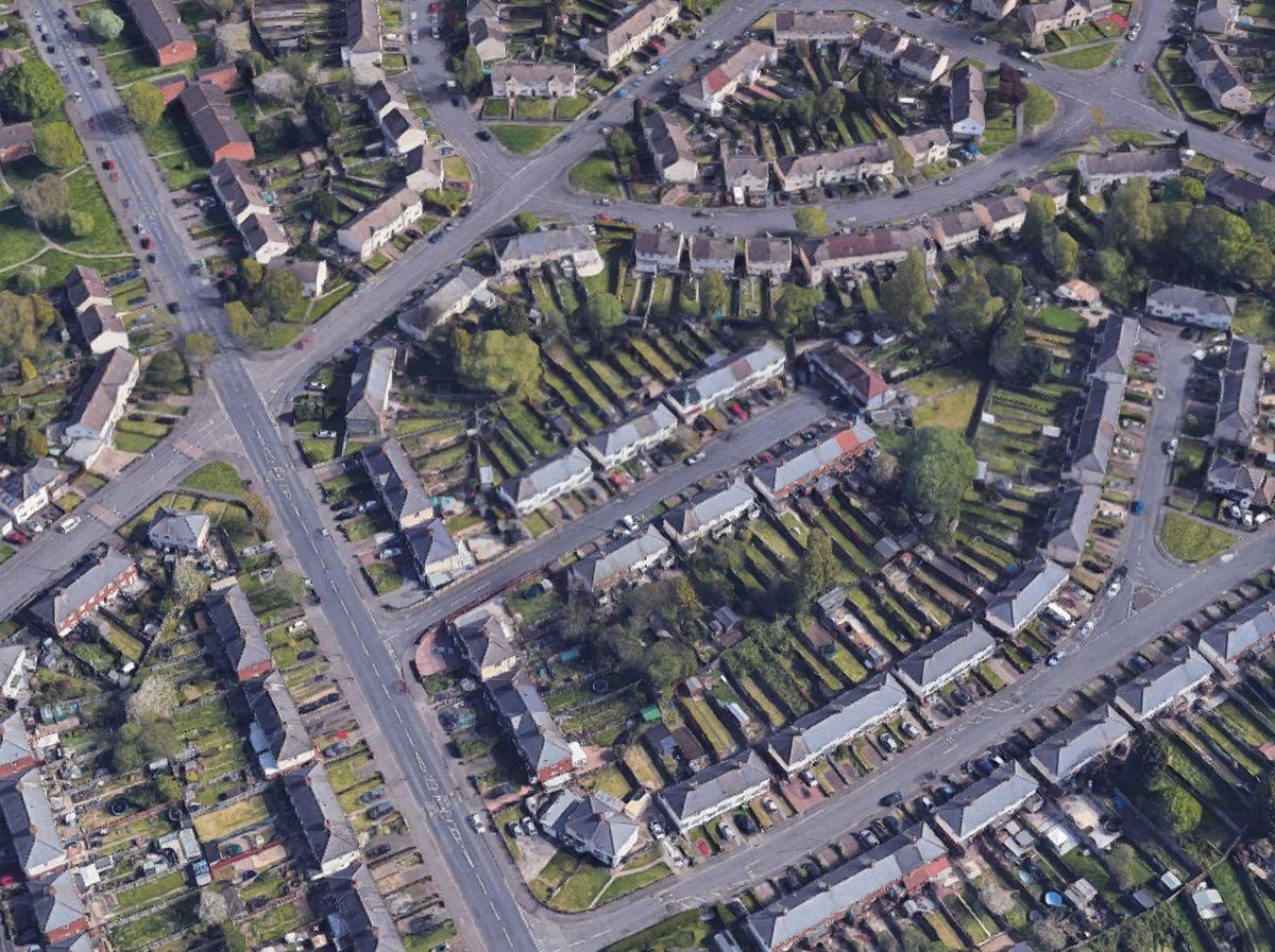 The woman was shot in Sharman Road, Wolverhampton. Photo: Google