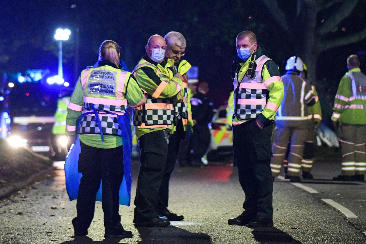Emergency services at the scene in Bromley Lane, Kingswinford. Photo SnapperSK.
