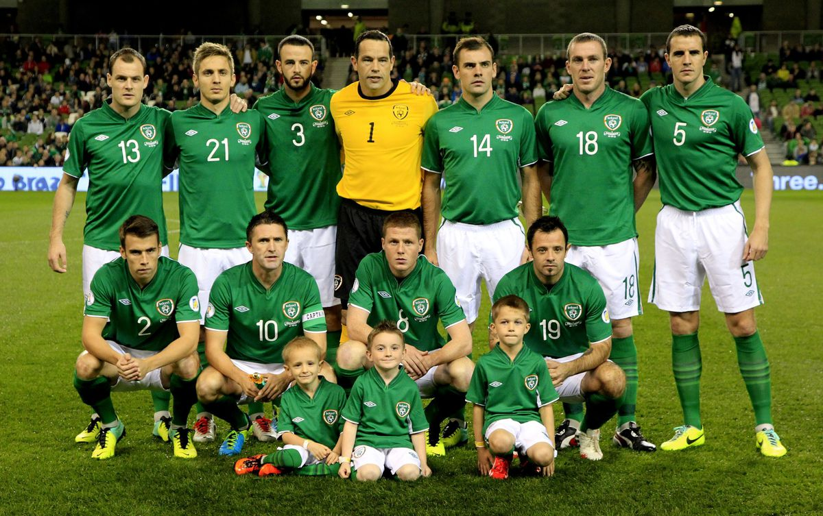 The Republic of Ireland's (front row left to right) Seamus Coleman, Robbie Keane, James McCarthy, Andy Reid (back row left to right) Anthony Stokes, Kevin Doyle, Marc Wilson, David Forde, Darron Gibson, Richard Dunne and John O'Shea line up before the FIFA 2014 World Cup Qualifying, Group C match at the Aviva Stadium, Dublin.