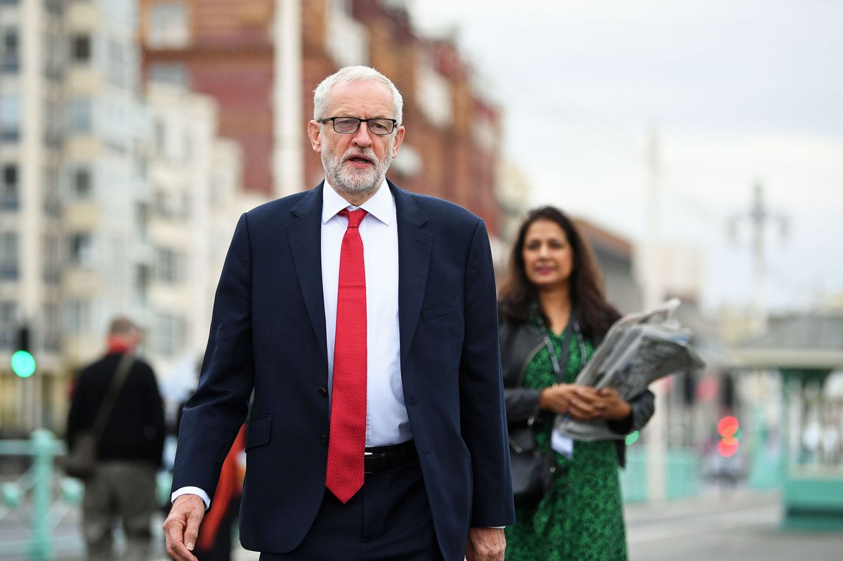 Jeremy Corbyn on Brighton seafront during the Labour Party Conference at the Brighton Centre