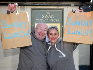 CANNOCK COPYRIGHT EXPRESS&STAR TIM THURSFIELD 26/03/21.John and Jane Evans, from the Swan With Two Necks pub, Longdon, have been delivering free Sunday lunches to the elderly/vulnerable since the beginning of January....