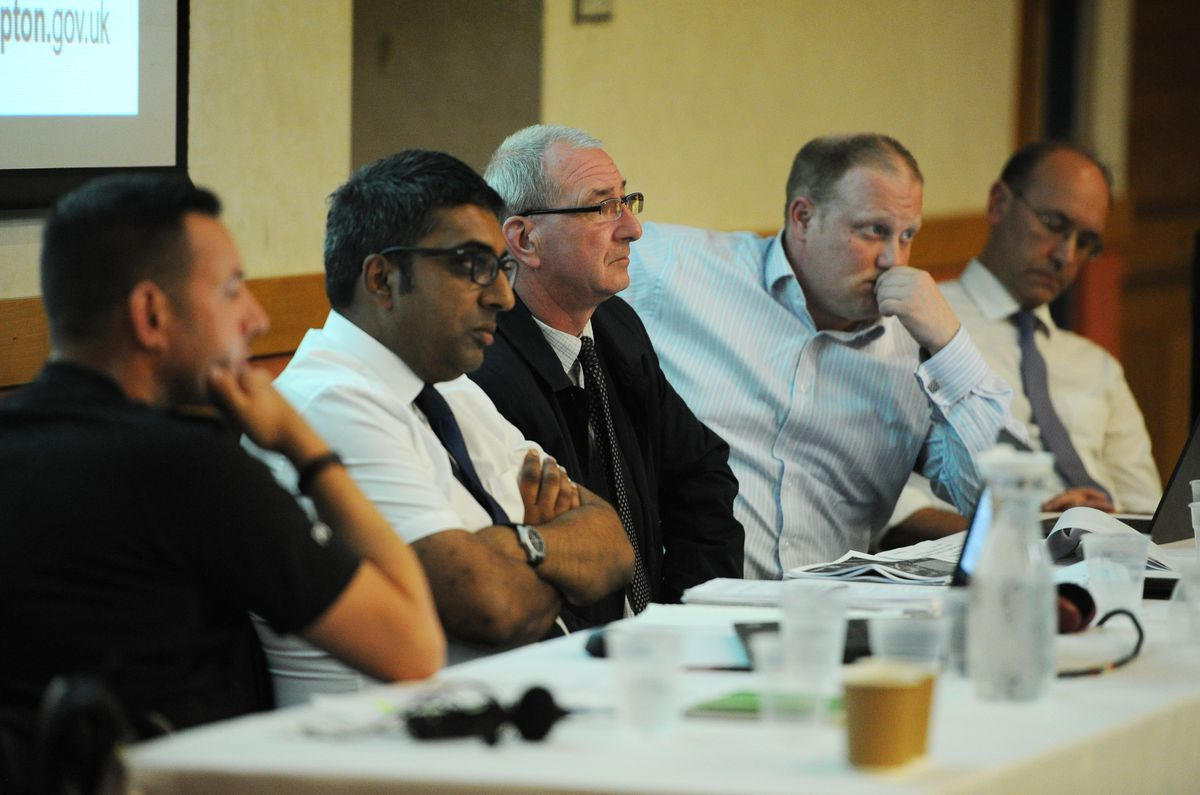 The panel at Wolverhampton Racecourse including, from second left, trading standards service lead Paul Dosanjh, councillor Steve Evans, and business services lead Colin Parr, and Martin Dye, from the city's regeneration and environment team