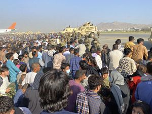 There have been chaotic scenes at the international airport in Kabul, Afghanistan, as people seek to leave the country