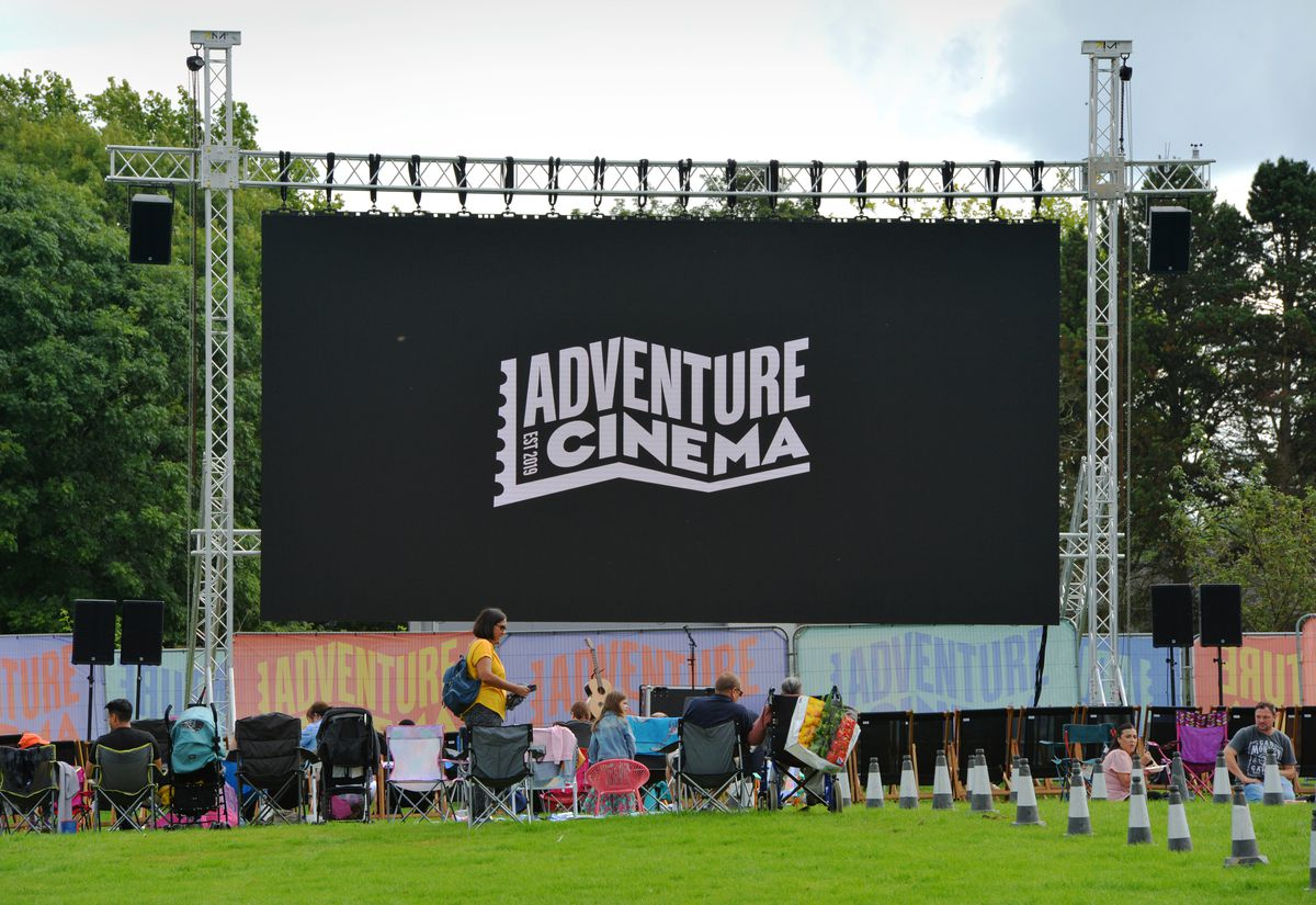 The big screen at Bantock Park for the Film and Food Fest