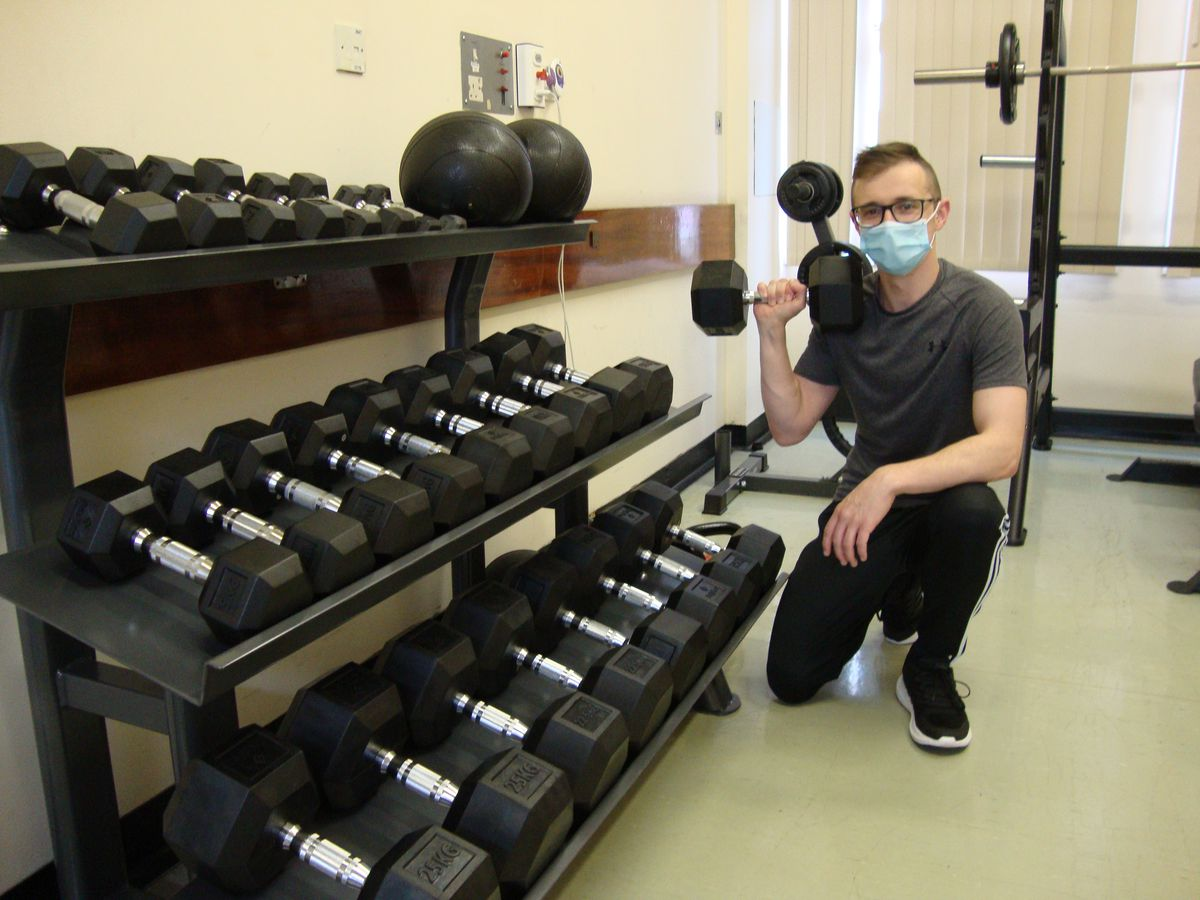 Senior physio Adam Moore with some of the new gym equipment at Kidderminster Hospital.