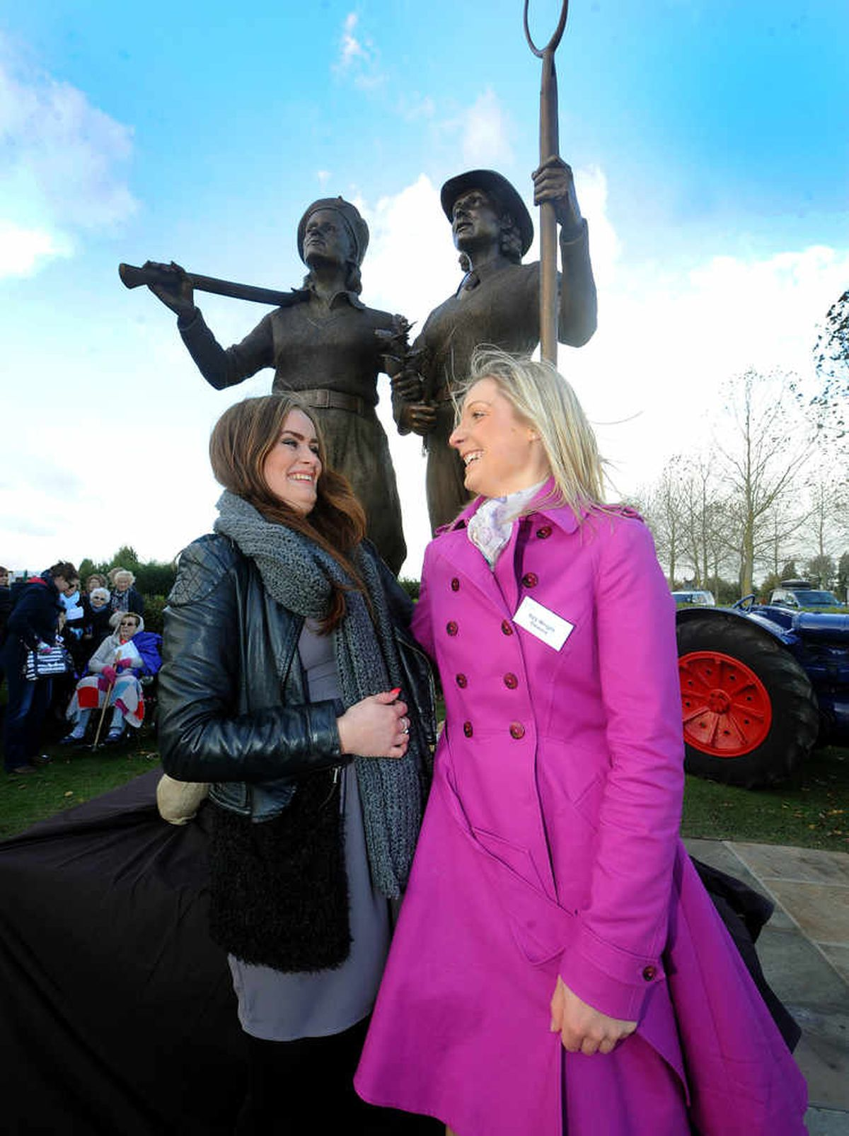 Sarah Martin and Izzy Wright from Stafford, who posed for the statue.