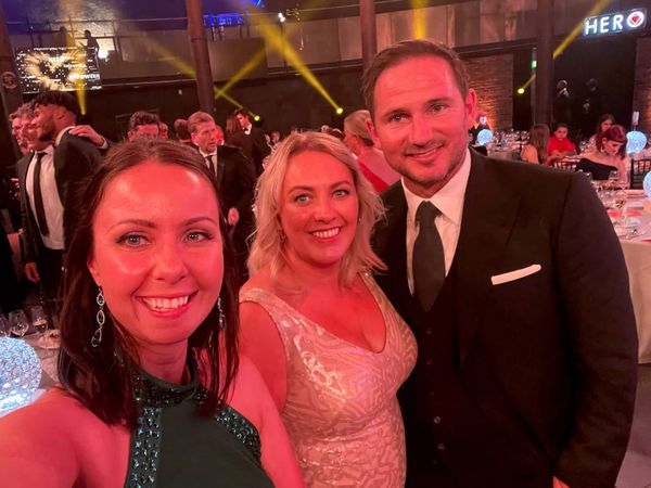 Angela (centre) with Lauren and Frank Lampard