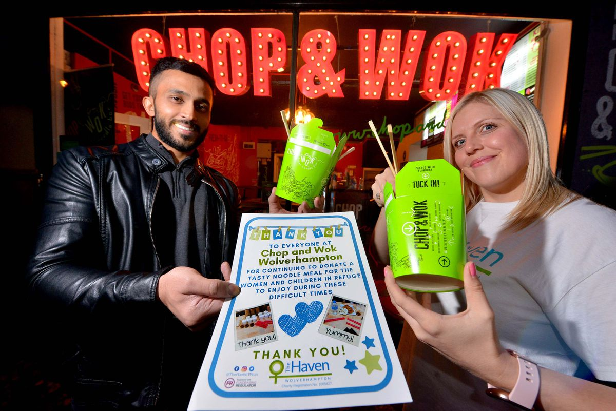Pan-Asian restaurant Chop and Wok have been donating 20 meals each week to Women's refuge charity the Haven. (L to R) Chop and Wok owner Saleem Deen and senior community fundraiser Hayley Powell