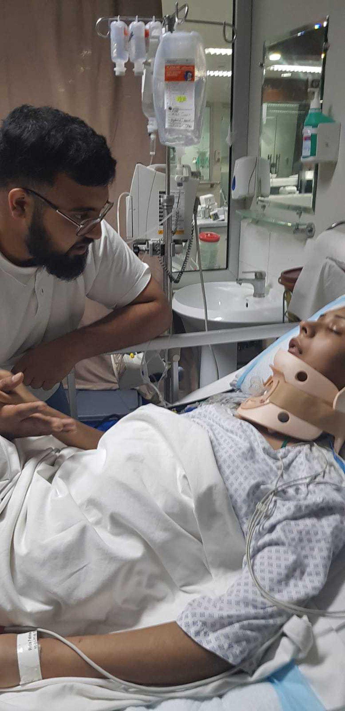 Arslan with Rida in hospital in Pakistan
