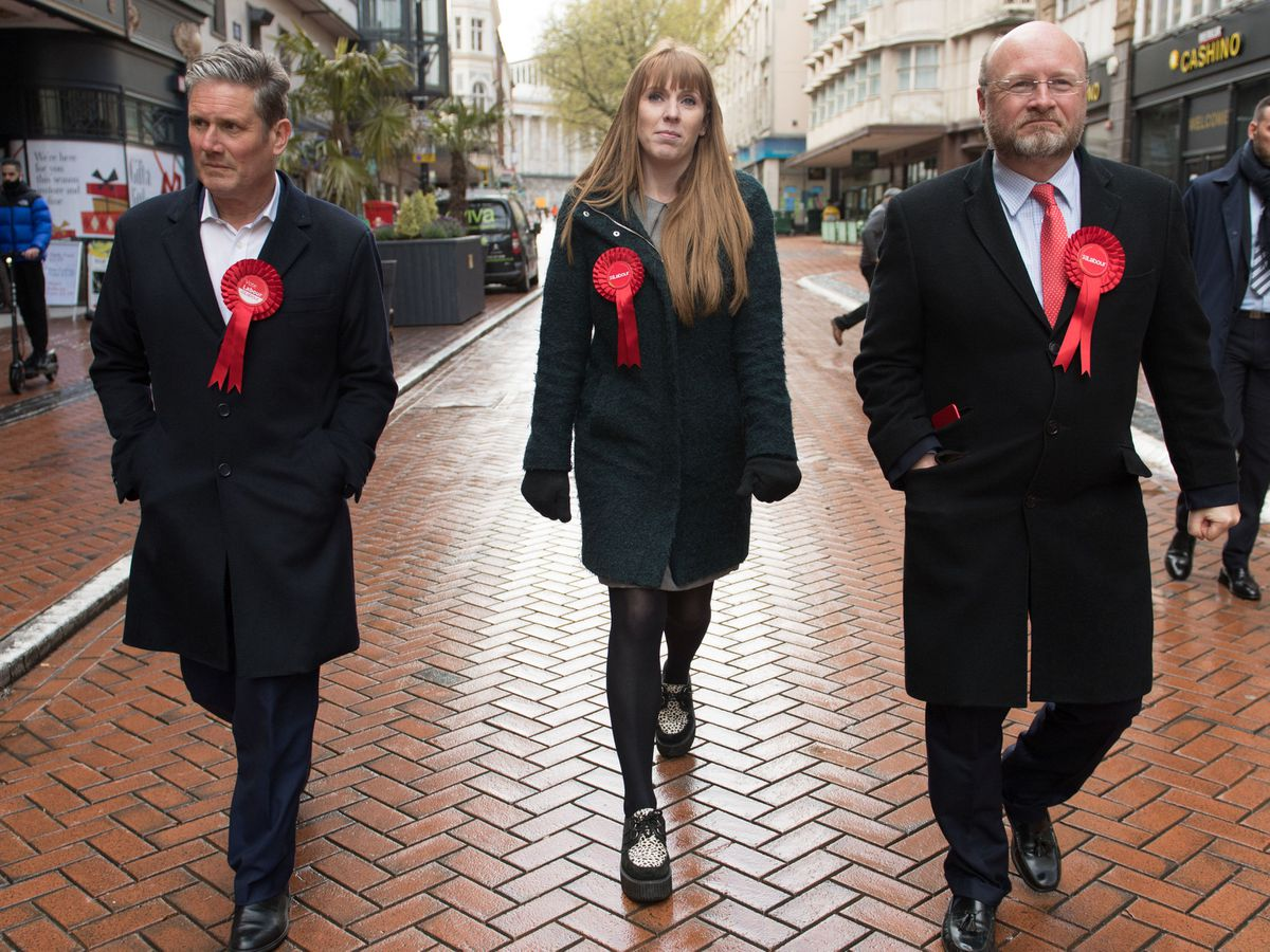 Sir Keir taking a stroll in Birmingham last week with Mayoral candidate Liam Byrne, who lost, and deputy leader Angela Rayner, who he has since sacked as party chair