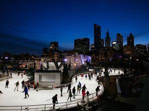 Ice skating at the ribbon rink at Maggie Daley Park