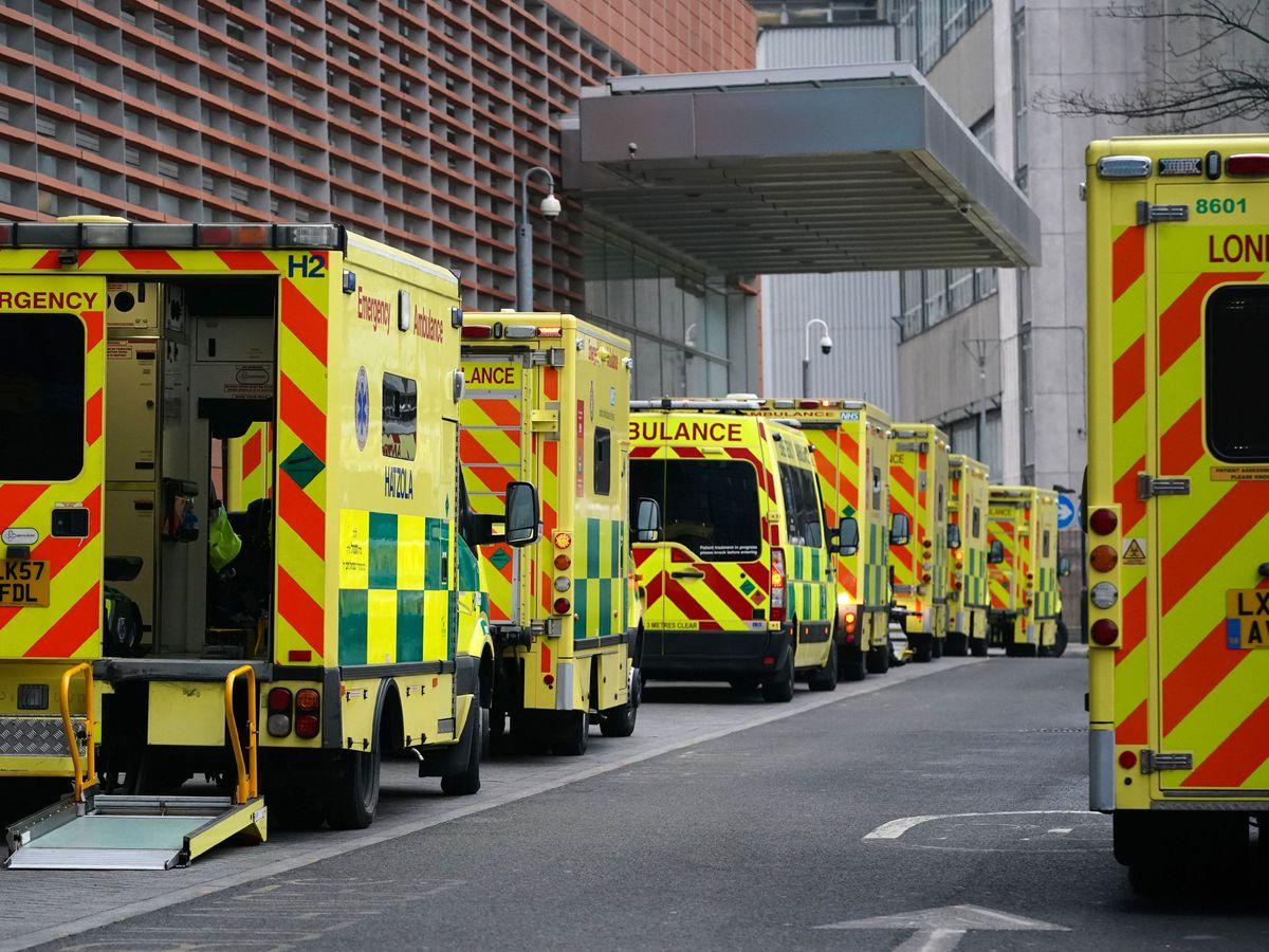 A queue of ambulances