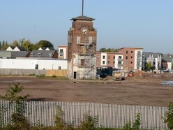 Going, going... gone: Just the clock tower left after Wolverhampton Goodyear demolition