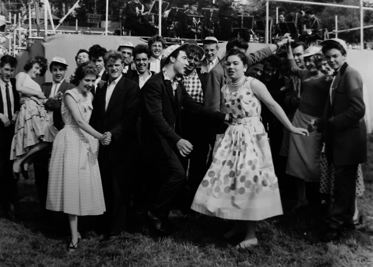 Teenagers at the Corbett Hospital fete in Amblecote, in 1957, taken by 'Hal' form Market Street, Stourbridge