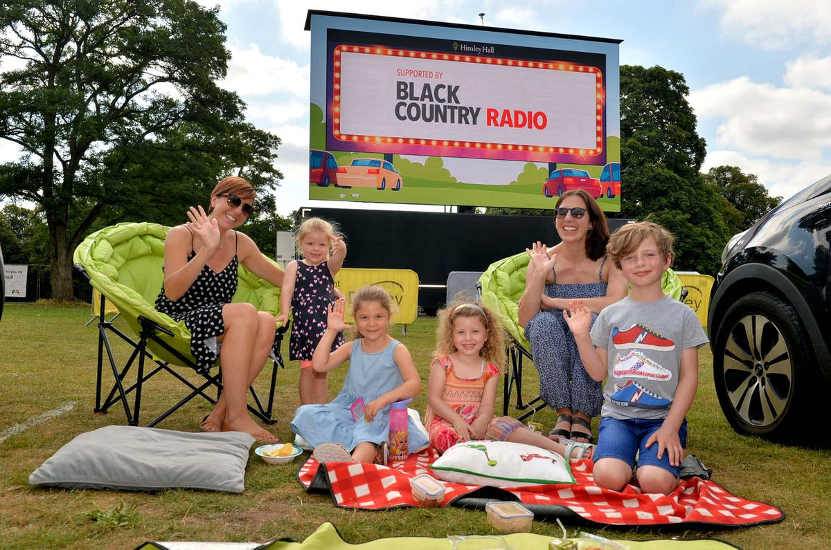 Phillipa Chester and Stephanie Flint get ready to watch the film with their children Harriet (2) and Elodie Chester (5) and Elizabeth (4) and Ryan Flint (6)