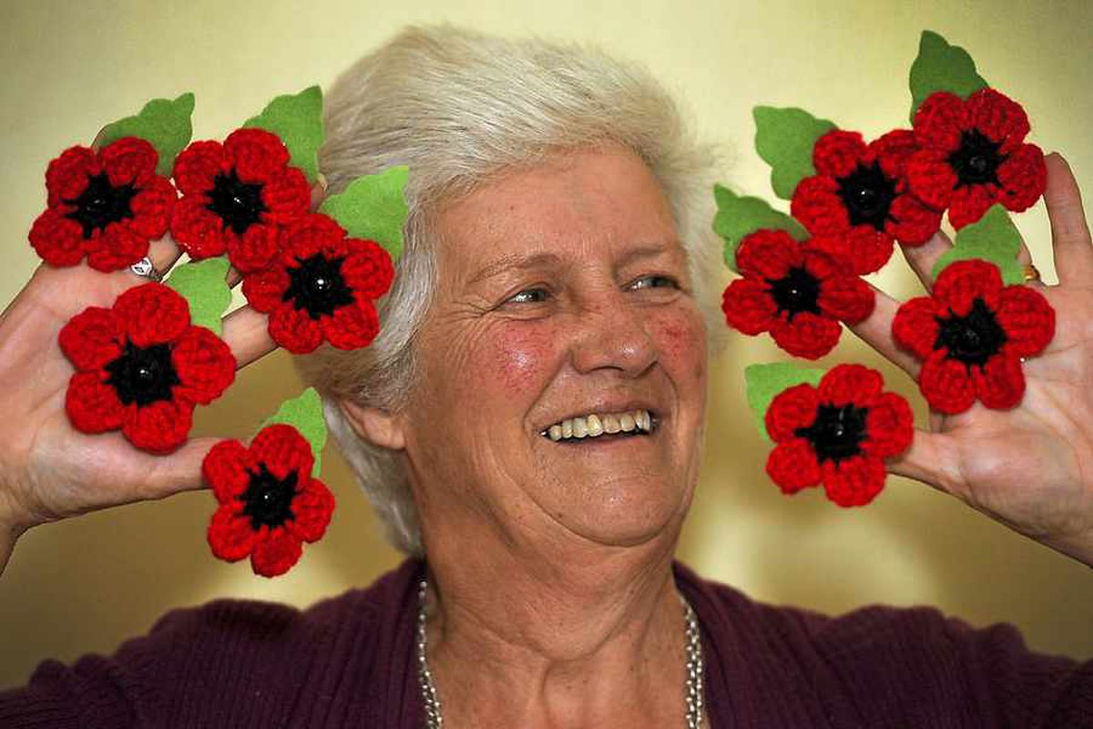 £3,000 raised by selling 1,500 poppies crocheted to celebrate 70th birthday