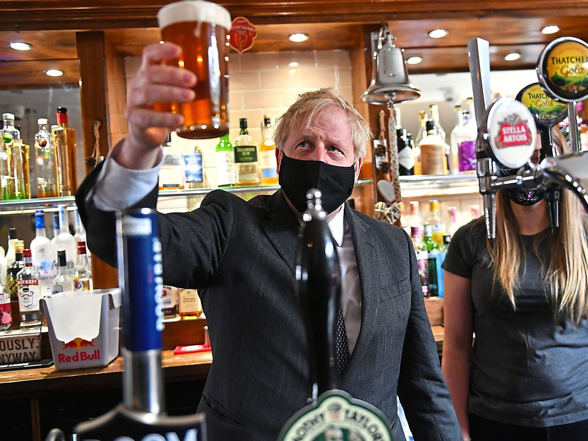 Boris Johnson visited The Mount Taven public house and restaurant in Wolverhampton on the local election campaign trail