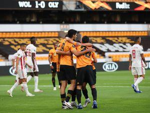 Raul Jimenez of Wolverhampton Wanderers celebrates after scoring a goal to make it 1-0.