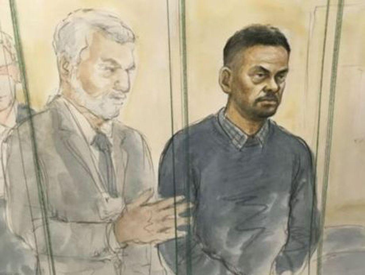 A court sketch showing Gurpreet Singh at Birmingham Crown Court