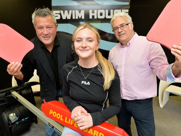 All Blacks rugby legend Zinzan Brooke and Team GB Olympics swimming hopeful Abbie Wood with Neil Morten at Swim House in Lichfield
