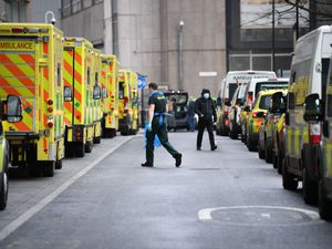 Ambulances at Whitechapel hospital in London during the peak of the second wave of Covid-19