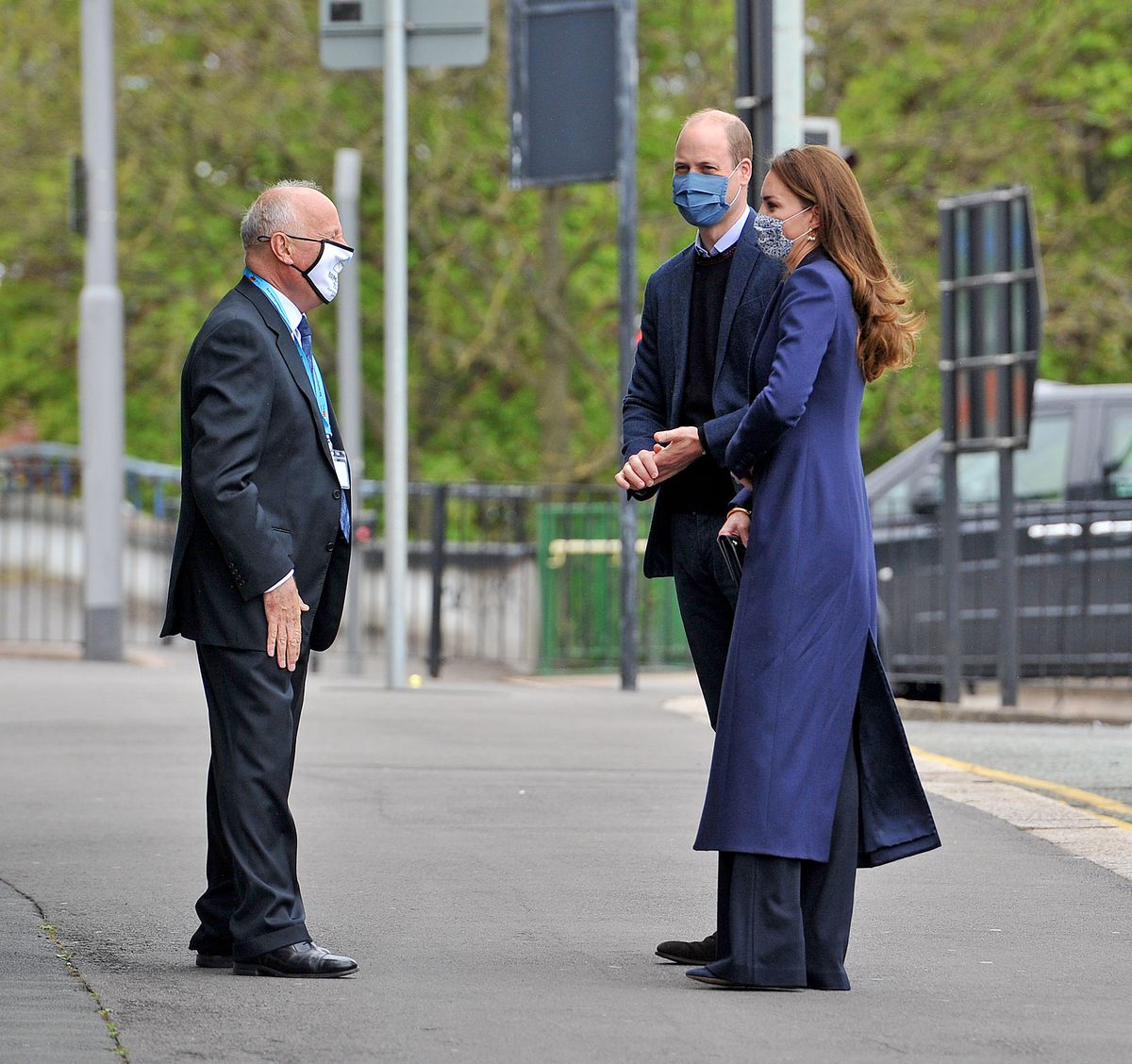 William and Kate arrive are greeted by Lord Lieutenant John Crabtree OBE