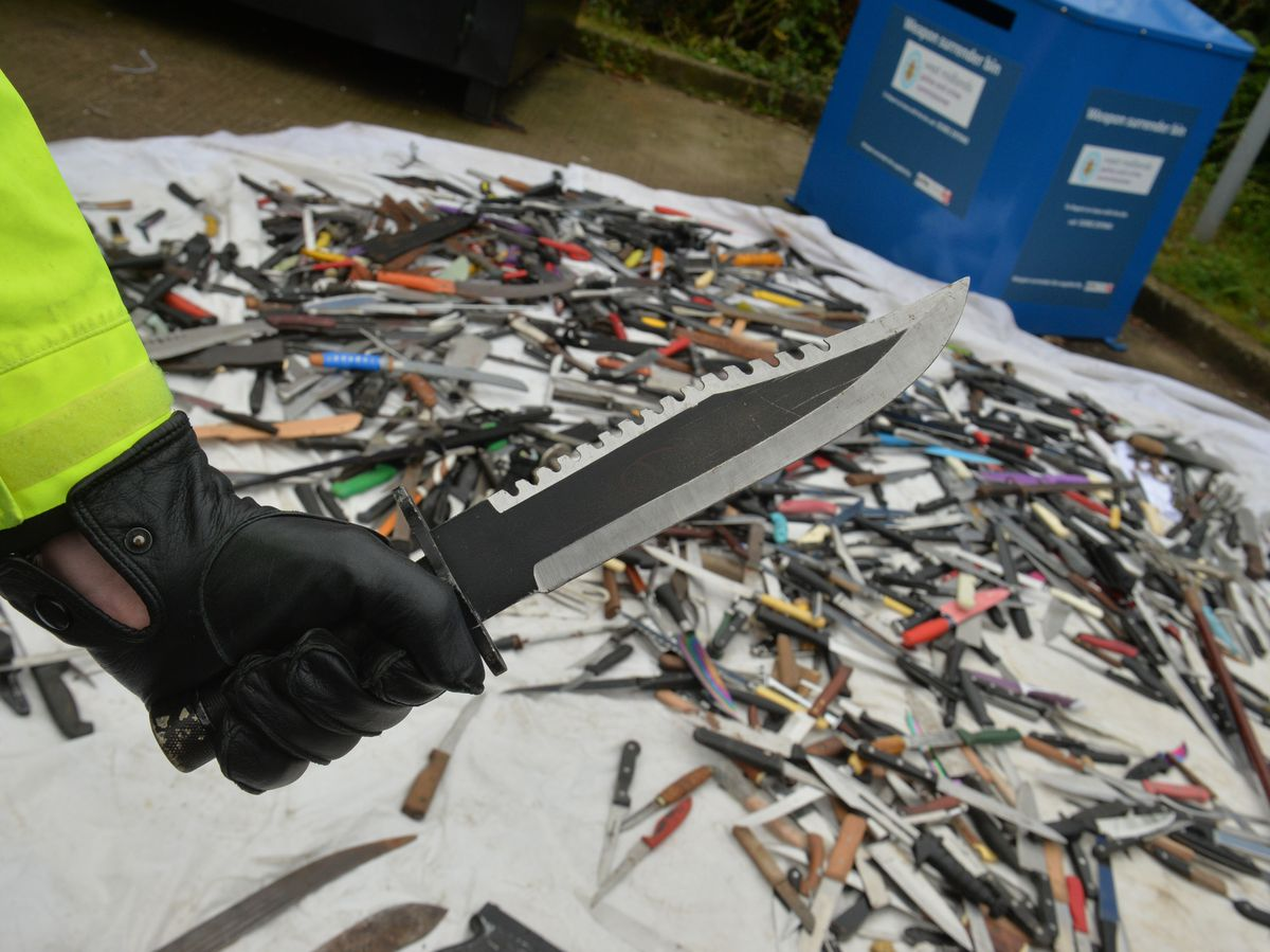 Weapons from the region's surrender bins at Tesco Extra, Dudley