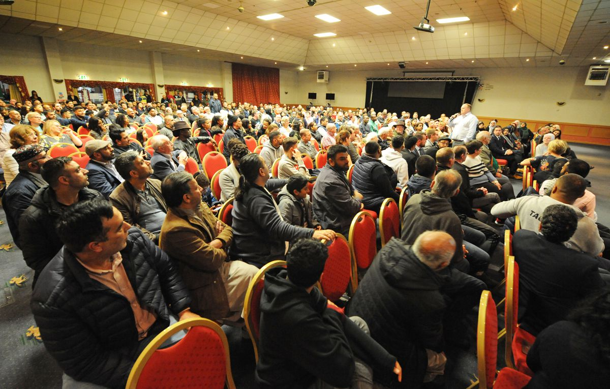 Hundreds of people attended packed into the conference room at Wolverhampton Racecourse