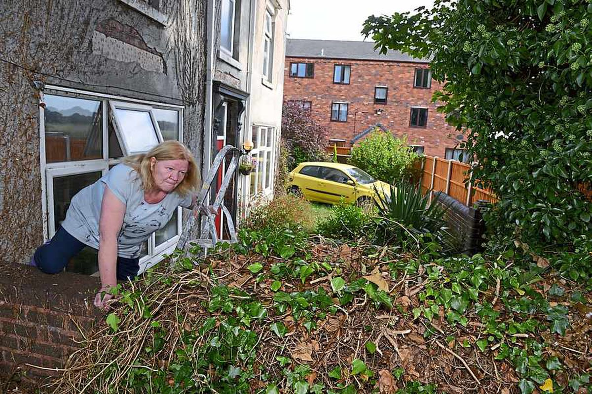 Wendy is having to use ladders to get out of her front garden
