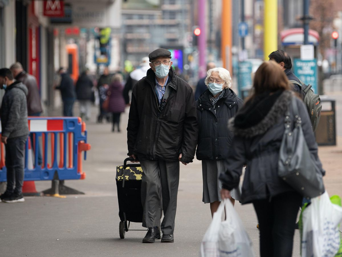 Shoppers in Leicester during the final week of the second national lockdown