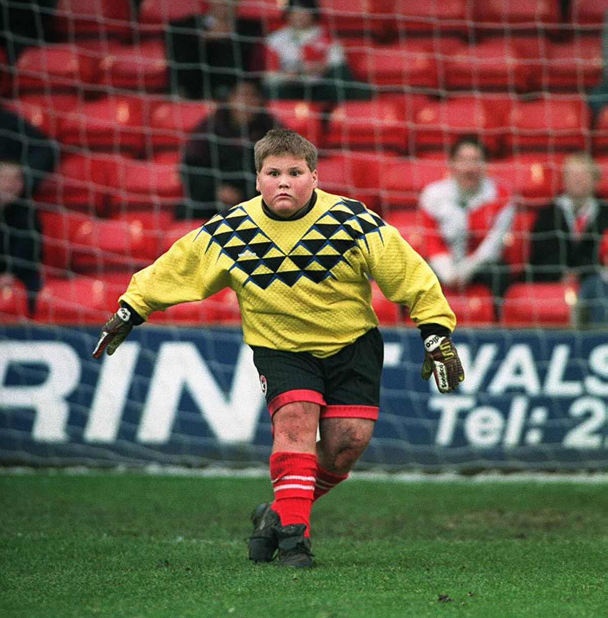 Maurice Willetts, aged 13, in goal during half-time at the Bescot Stadium