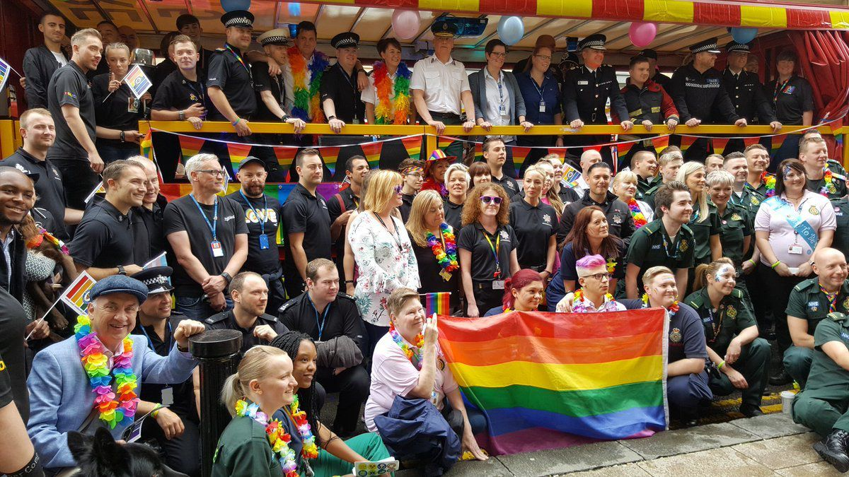 Emergency service staff celebrate pride along with West Midlands Police and Crime Commissioner David Jamieson. Picture: @WestMidsPCC