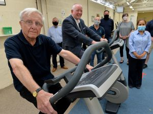 Former Goodyear workers have purchased equipment for Heart Care (Walsall Rehabilitation and Healthy Living Trust) - pictured are patient John Roden, former Goodyear worker Wayne Devaney and community fundraiser is Rina Guddu