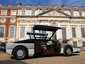 The Aston Martin Bulldog being unveiled
