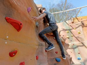 Jack Cunneen is pictured trying out the new climbing wall, added to the Challenge Academy at Baggeridge Country Park