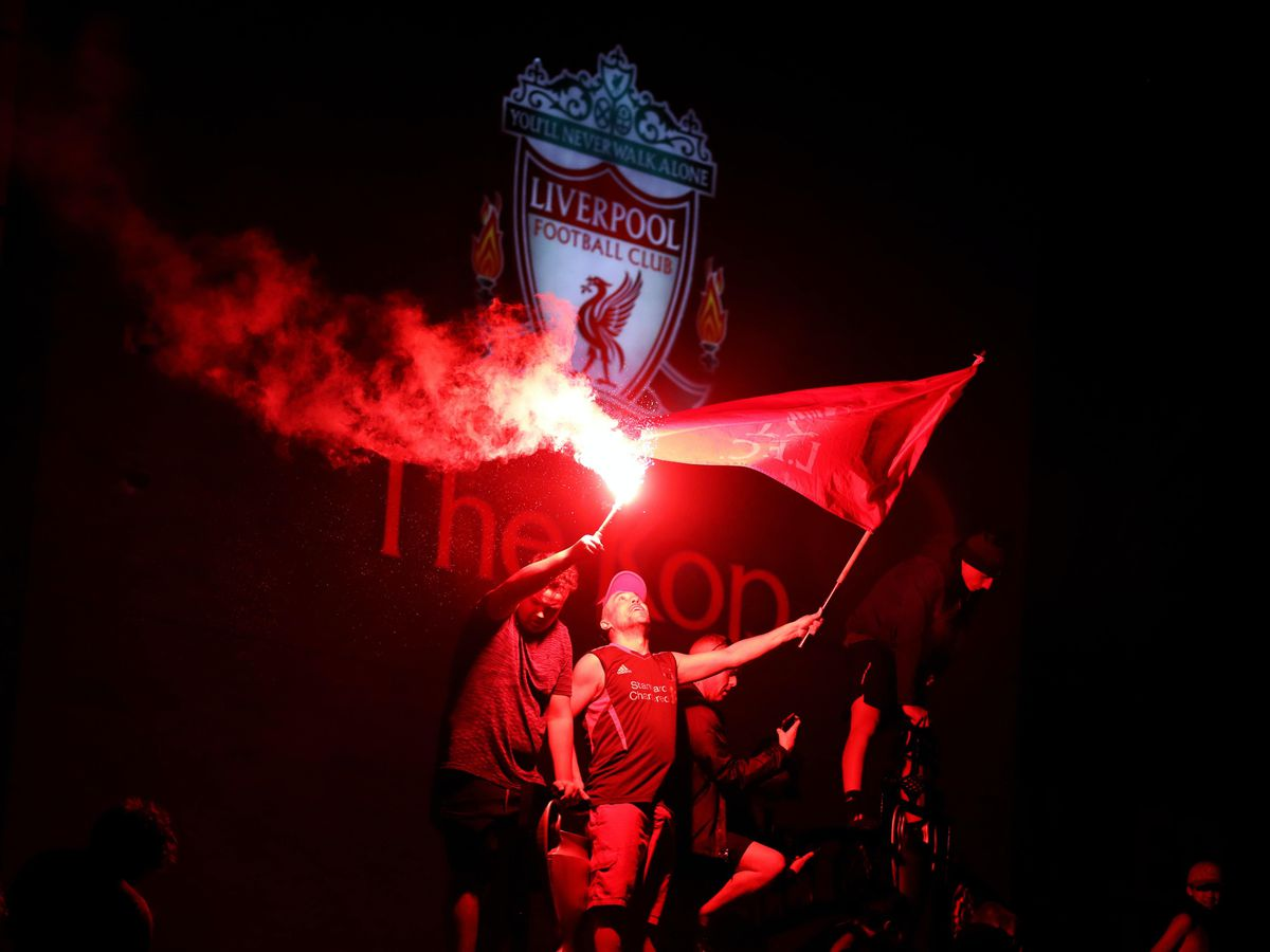 Liverpool fans outside Anfield