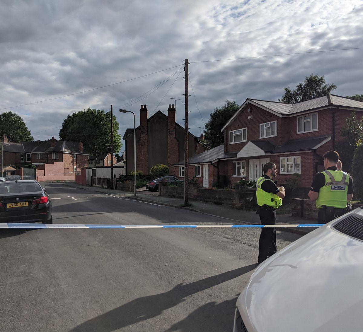 The police cordon in Bruford Road, Wolverhampton