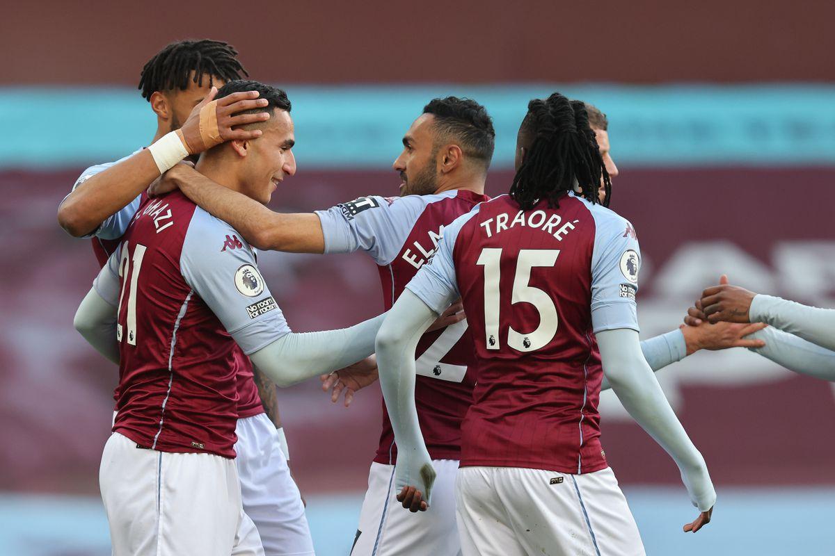 Anwar El Ghazi of Aston Villa celebrates after scoring a goal to make it 1-0. (AMA)