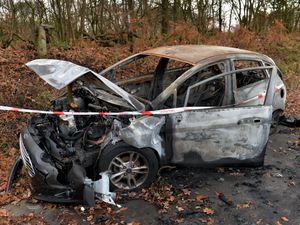 SANDWELL COPYRIGHT TIM STURGESS Express & Star ......... 02/01/20  GV Newton Rd, West Bromwich.A car which left the road and hit and tree has been torched and left burned out on the pavement..The car has been there since the crash happened on Boxing Day ..