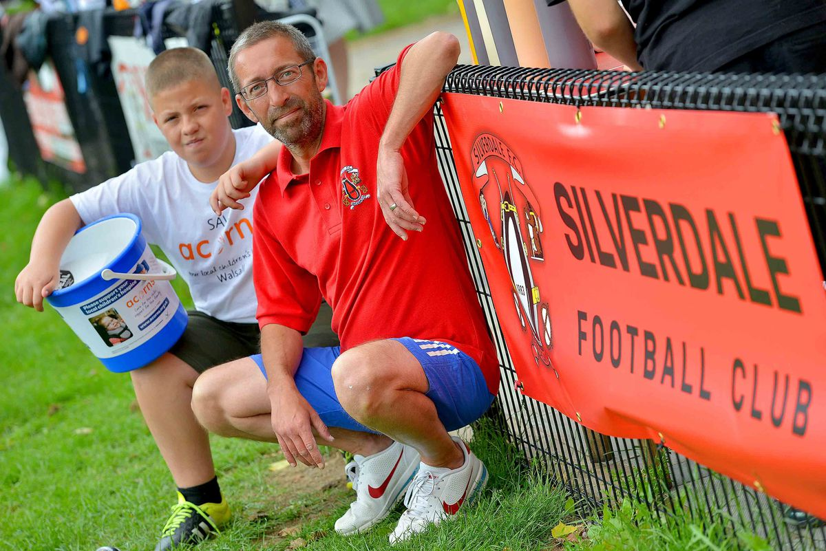 Callum Bunce with manager of Silverdale under 12s Perry Robinson