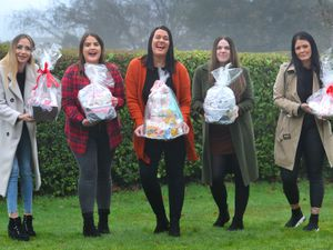 Ashley, centre, with friends and fellow fundraisers Robyn Bolton, Abbey Jones, Leanne Murphy and Stephanie Nation